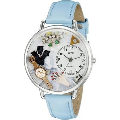 ジュエリー 青 水色レザー シルバーフレーム時計 #U1010010