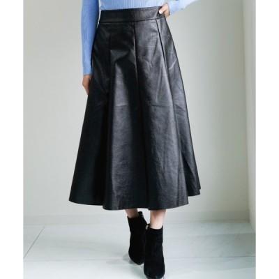 スカート フェイクレザーミディスカート