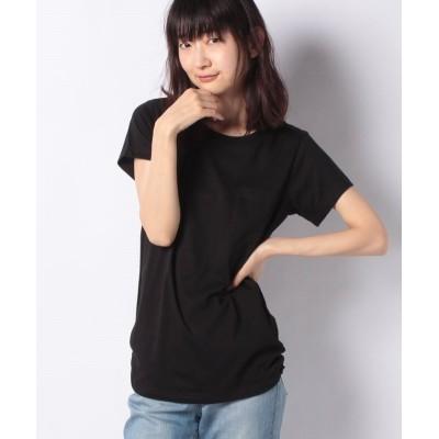 (GeeRA/ジーラ)裾ギャザー美ラインクルーネックTシャツ/レディース ブラック