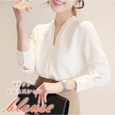 ブラウス レディース シャツブラウス ゆったり 大きいサイズ 白シャツ 長袖 体型カバー カジュアルシャツ シンプル ビジネス 2019新品