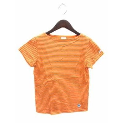 【中古】オーチバル ORCIVAL オーシバル ビームス BEAMS Tシャツ カットソー ボートネック 半袖 ボーダー F オレンジ /ST レディース