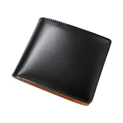 bell la bell(ベルラベル) 二つ折り 財布 コードバン [日本製] オールレザー メンズ財布 (小銭入れ付き) 父の日のプレゼントに -