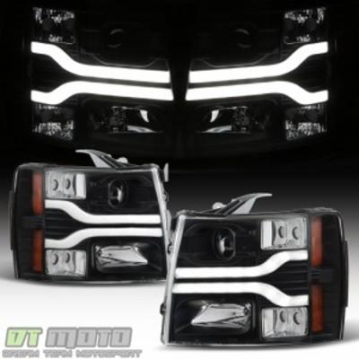 ヘッドライト ブラック2007-2013シボレーシルバラード1500 LED DRLチューブプロジェクターヘッドライトヘッドランプ