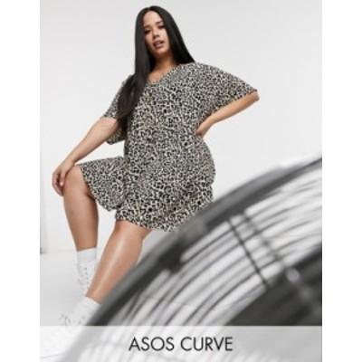 エイソス レディース ワンピース トップス ASOS DESIGN Curve v neck mini smock dress with button front in natural leopard Natural l