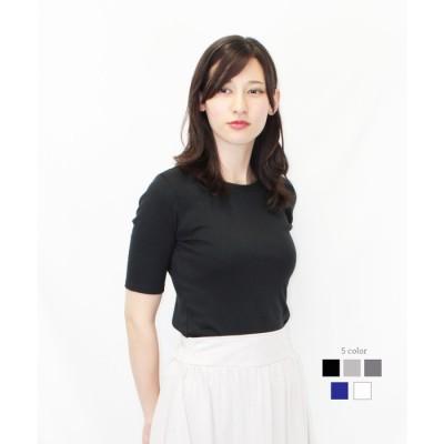 atONE コットンフライス5分袖Tシャツ グレー 3L レディース