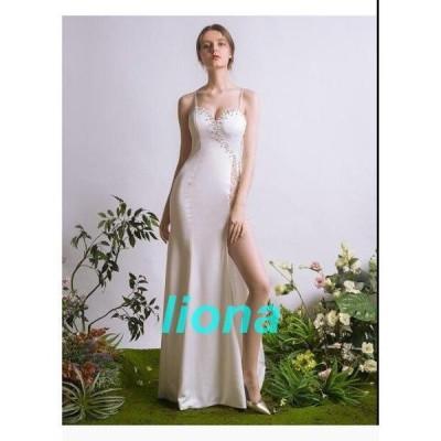 素敵 ウエディングドレス  Vネック ロングドレス  キレイめ パーティードレス 結婚式 発表会 ブライダル お嬢様 ワンピース 演奏会 二次会 お呼ばれ プレゼント