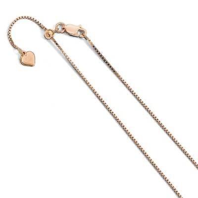 ストーンのついていない貴金属 海外セレクション Sterling Silver .95 mm Rose Gold-plated Adjustable Box Chain, by Versil