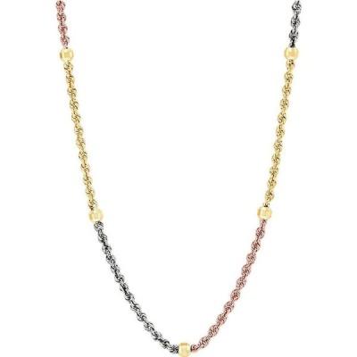 """メイシーズ Macy's ユニセックス ネックレス tricolor beaded rope link 18"""" chain necklace in 10k gold, white gold & rose gold Tricolor"""