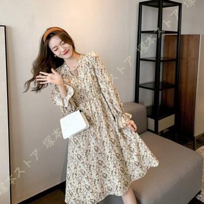 レディース ドレス ワンピース 総柄 長袖 ゆったり 膝丈ワンピース ドレス ロング 体型カバー きれいめ 上品 Vネック Aライン 大きいサイズ 花柄ワンピース
