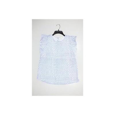 メイソン ジュール ブラウス シャツ トップス Maison Jules レディース Top Blouse M ブルー ホワイト プリント Polyester Regular LAFO
