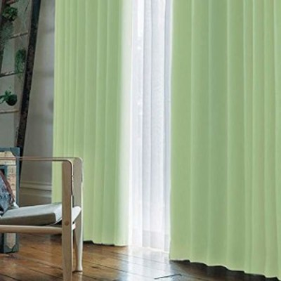 (窓美人) 1級遮光 「アラカルト」 カーテン 片開き 1枚 + アジャスターフック + カーテンタッセル パステルグリーン 幅150×丈190cm