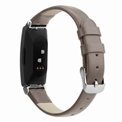 Comtax for Fitbit Inspire HR ベルト レザー皮革交換用バンド 多色選択 調整可能 対応 Fitbit Inspire Fitbit Inspire HR (S,グレー)