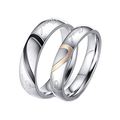 LineAve 彼の彼女 カップル リアルラブ マッチングハートリング メンズ レディース 結婚指輪 ステンレススチール ピンク