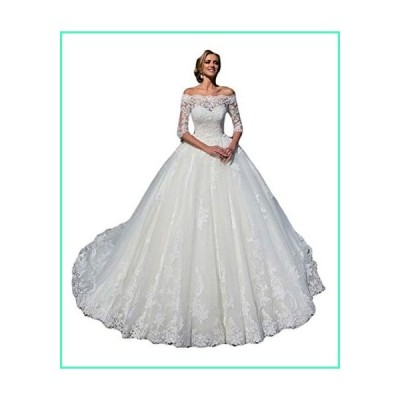 Rmaytiked Women's Wedding Dresses Ball Gown 3/4 Sleeves Lace Tulle Off The Shoulder Wedding Dresses for Bride 2020 White並行輸入品