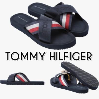 TOMMY HILFIGER トミーヒルフィガー ロゴ クロス サンダル 紺 レディース