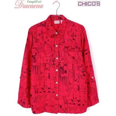 古着 レディース シャツ CHICO'S チコズ アート 落書風 デザイン シルク レッド ブラック 長袖 シャツ 古着