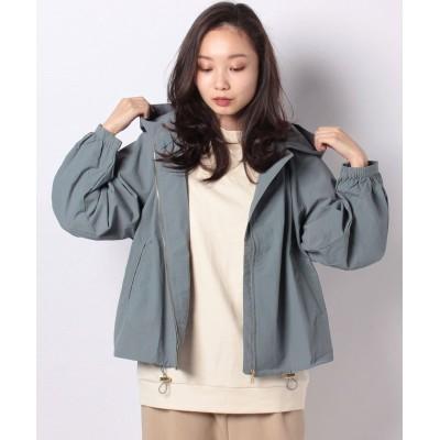 【ラナン】 フード付ギャザーデザインジャケット レディース ブルー L Ranan