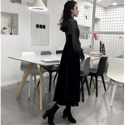 品質自信あり 韓国ファッション おしゃれな CHIC気質 トレンド 新品 レトロ sweet系 キャミ・ベアワンビス 2点セット ワンビース