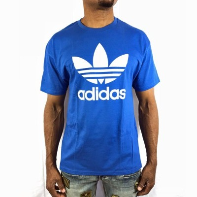 アディダス オリジナルス トレフォイル Tシャツ adidas 三つ葉 半袖 トップス ストリート 青 ブルー メンズ●tsa103