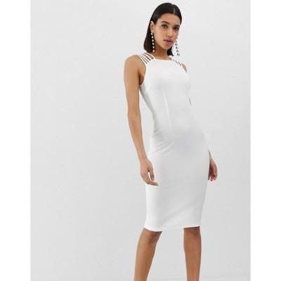 アックスパリ レディース ワンピース トップス AX Paris strap detail bodycon dress in white