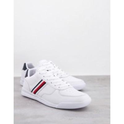 トミー ヒルフィガー メンズ スニーカー シューズ Tommy Hilfiger lightweight leather sneakers with side flag logo in white White