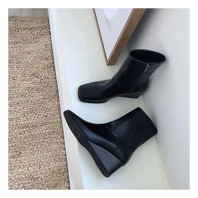 ショートブーツ スクエアトゥ サイドジップ ミドルヒール ウェッジヒール レザー レディース 黒 茶色 ブラック ブラウン 靴 婦人靴