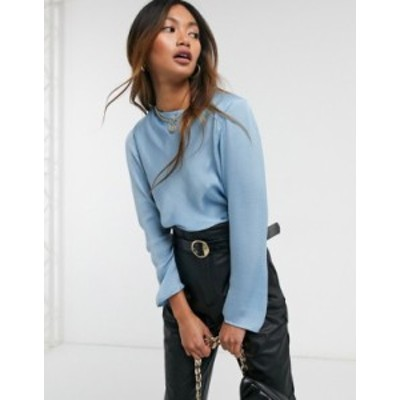 エイソス レディース シャツ トップス ASOS DESIGN long sleeve satin top with shoulder pads in powder blue Blue