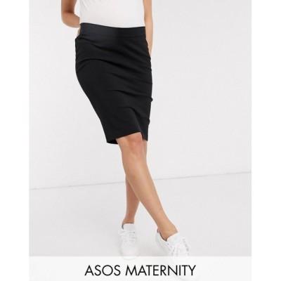 エイソス ASOS Maternity レディース ひざ丈スカート マタニティウェア ペンシルスカート スカート ASOS DESIGN Maternity under bump pencil skirt ブラック