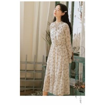 大きいサイズ レディース 花柄 インナー ロング ドレス ワンピース スカート 長袖 ゆったり レトロ S M L