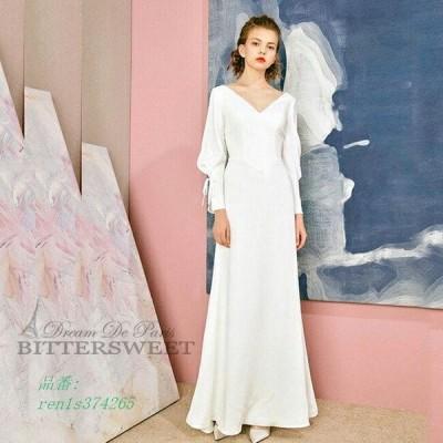 ウェディングドレス オーダーメイドも可能 パーティードレス スレンダーライン ファスナータイプ ホワイト