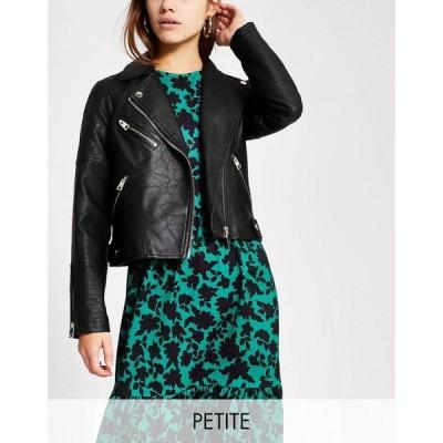 リバーアイランド River Island Petite レディース レザージャケット ライダース アウター quilted faux leather biker jacket in black ブラック