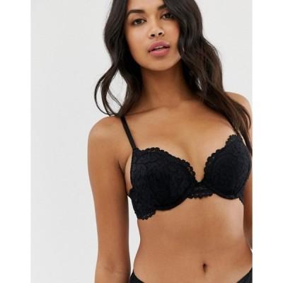 ニュールック レディース ブラジャー アンダーウェア New Look pansy lace boost bra in black