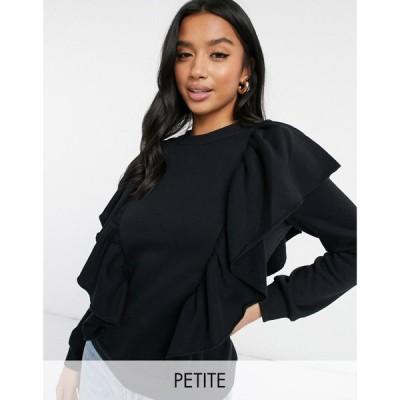 ヴェロモーダ Vero Moda Petite レディース ニット・セーター トップス Sweater With Side Ruffle Detail In Black ブラック