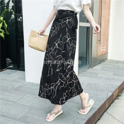 プリントラップロングスカート 巻きスカート ラップスカート 大きいサイズ ロングスカート レディース ボトムス スカート ロング プリント 花柄