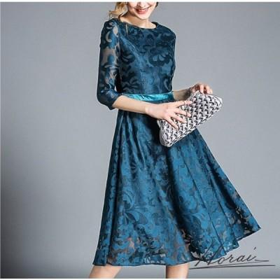 ドレス 七分袖 レギュラー丈 レース 透け感 花柄 ワンピース ワンピドレス お呼ばれ 結婚式 二次会 パーティー お取り寄せ