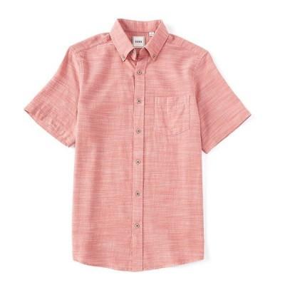 ロウン メンズ シャツ トップス Short-Sleeve Solid Textured Sportshirt Mineral Red