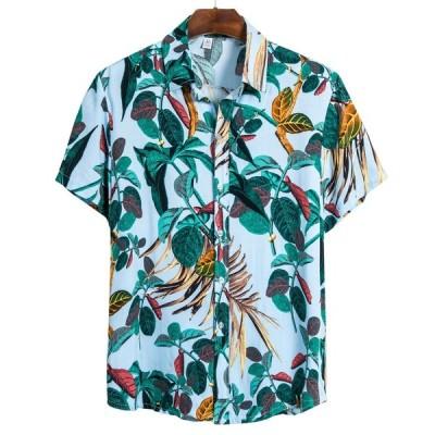 エスニック国籍メンズシャツカジュアル半袖シャツ男性ハワイ綿印刷スタンドカラーブラウストップカミーサ