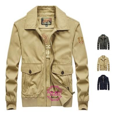 ミリタリージャケット メンズ ジャケット ブルゾン 綿100% 大きいサイズ カジュアル 春物
