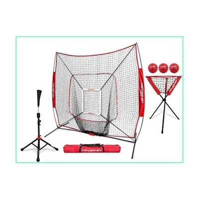 PowerNet DLX Proバンドル(野球ソフトボールネット、ストライクゾーン、3つのトレーニングボール、トラベルティ