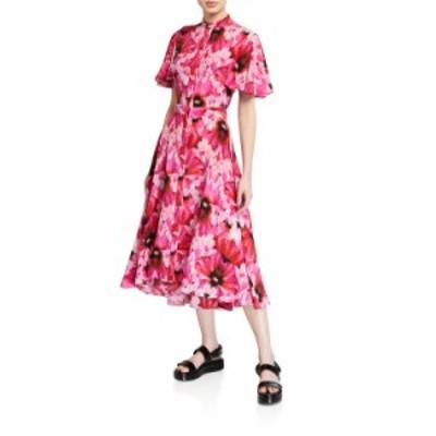 アレキサンダー・マックイーン レディース ワンピース トップス Floral Crepe de Chine Fluttered Cap-Sleeve Midi Dress PINK