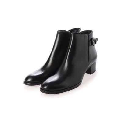 ルカ グロッシ LUCA GROSSI ベルト付きサイドゴアショートブーツ (ブラック)