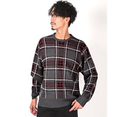 【ラグスタイル】 チェッククルーネックニット/ニット メンズ セーター チェック ビッグシルエット メンズ グレー L LUXSTYLE