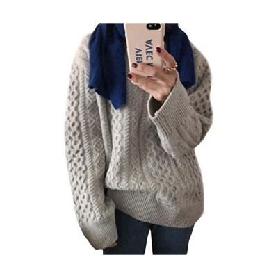 BEIBANGセーター レディース 長袖 ニット ゆったり ニットセーター クルーネック ケーブル編み トップス 厚手 暖?