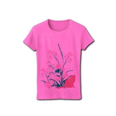 野草と野花と猫 リブクルーネックTシャツ(ピンク)
