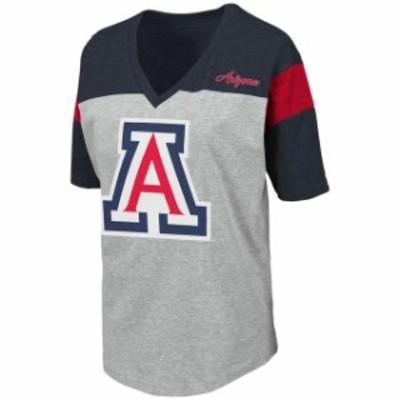 Colosseum コロセウム スポーツ用品  Colosseum Arizona Wildcats Womens Heathered Gray Genoa Color Blocked V-Neck T-Shirt