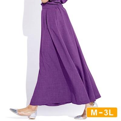 Ranan 【M~3L】麻調合繊さらさらスカート ブルー 3L レディース
