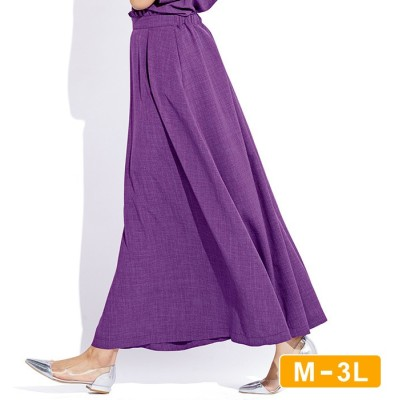 Ranan 【M~3L】麻調合繊さらさらスカート  L レディース