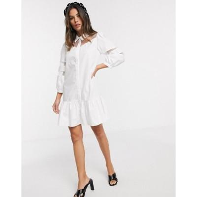 リバーアイランド レディース ワンピース トップス River Island organza paneled mini shirt dress in white