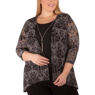 NY コレクション NY Collection レディース トップス 大きいサイズ Plus Size Layered-Look Top Black Star