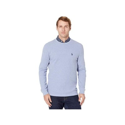 U.S. POLO ASSN. Long Sleeve Crew Neck Solid Thermal Shirt メンズ シャツ トップス Vista Blue Heather